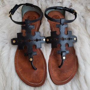 Tory Burch Phoebe Chandler Black Leather Sandal 10